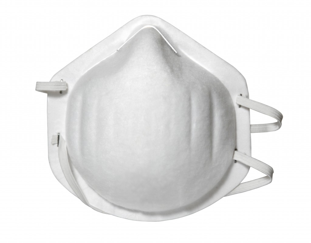 Close up of protective mask on white background